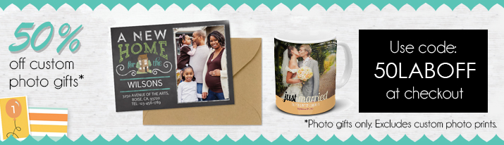 50% off custom cards with coupon: 50LABOFF
