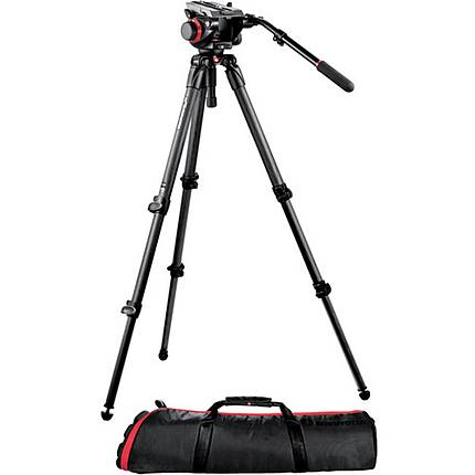 Manfrotto 504HD VD Fluid Video Head with 535 CarbonFiber Tripod Legs  and  Case