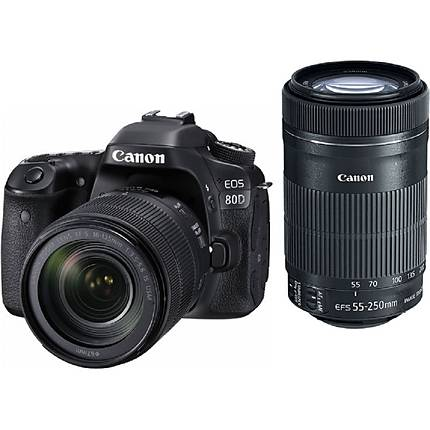 Canon EOS 80D DSLR with 18-135mm IS USM and 55-250mm IS STM Lenses Kit