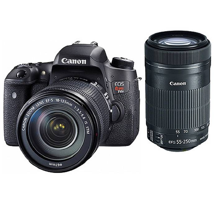 canon eos rebel t6s dslr with 18 135mm is stm and 55 250mm is stm lenses digital slr cameras. Black Bedroom Furniture Sets. Home Design Ideas
