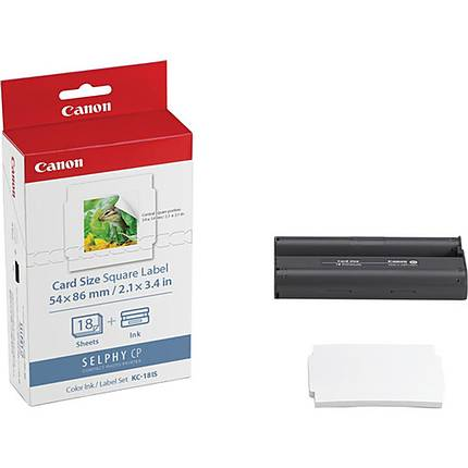 Canon KC-18IS Color Ink/Card Size Square Label Set (18 Sheets - 2.1
