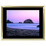 14x11 Custom Gold Metal Frame, Black Mat with Glass