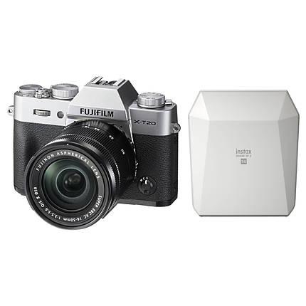 Fujifilm X-T20 Camera Silver w/16-50mm Lens  and  White Share SP-3 SQ Printer