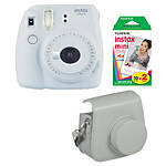 Fuji Instax Mini 9 Smokey White Camera with Film  and  Groovy Case