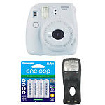 Fuji Instax Mini 9 Smokey White Camera w/ Extra Batteries  and  Battery Charger