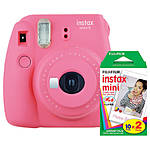 Fuji Instax Mini 9 Flamingo Pink Camera with Mini Film Twin Pack