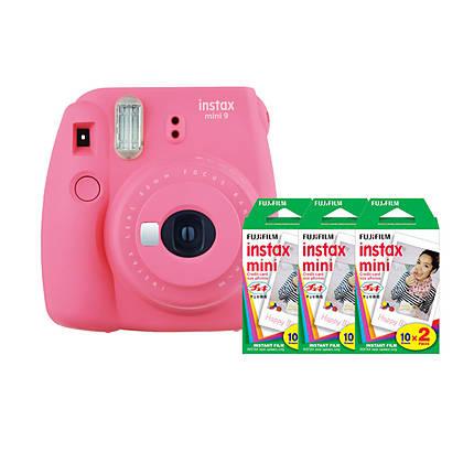 Fujifilm Instax Mini 9 Flamingo Pink Camera with Three Mini Film Twin Packs