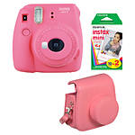 Fuji Instax Mini 9 Flamingo Pink Camera with Film  and  Groovy Case