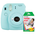 Fuji Instax Mini 9 Ice Blue Camera with Mini Film Twin Pack