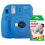 Fuji Instax Mini 9 Cobalt Blue Camera with Mini Film Twin Pack