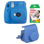 Fuji Instax Mini 9 Cobalt Blue Camera with Film  and  Groovy Case