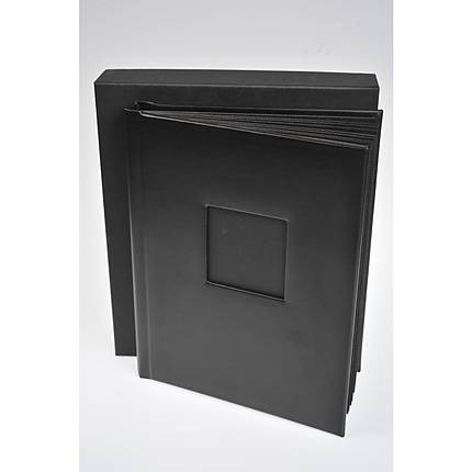 unique bound album with 30 peel and mount 8 x 10 pages black leather