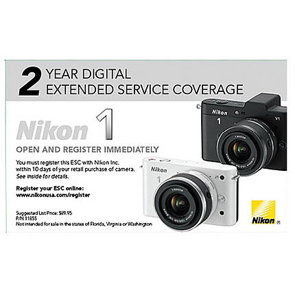 Nikon Extended Service Coverage for Nikon 1 Cameras (2 Years)