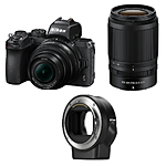 Nikon Z50 Mirrorless Digital Camera with 16-50mm, 50-250mm  and  FTZ Adapter