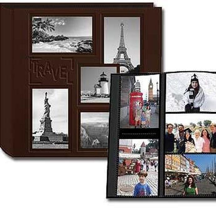 pioneer collage frame embossed leatherette travel scrapbook 12x12