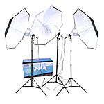 RPS Studio 3-Umbrella Tungsten Lighting Kit, Includes 8 Focusing Reflector