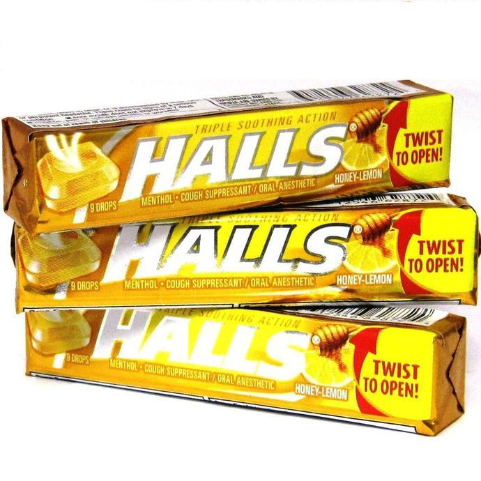 Halls Cough Drops 9ct Honey-Lemon Cough Suppressant ...