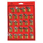 Brass Mini Padlocks 20mm 24ct on a Card