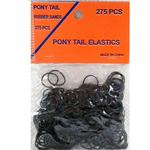 Pony Tail Rubber Bands 275ct on a Hangable Card (Black)