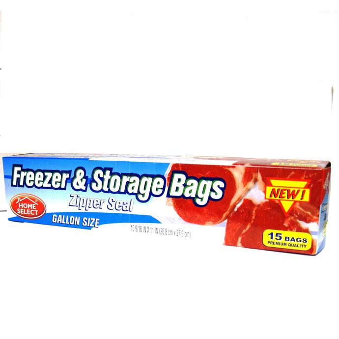 home select freezer and storage bags zipper seal gallon size 15ct